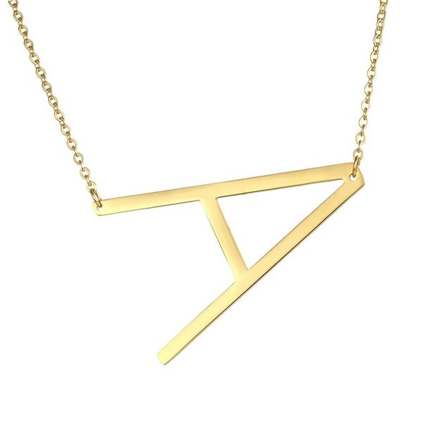 Image of In Stock Gold Staple Initial Necklace