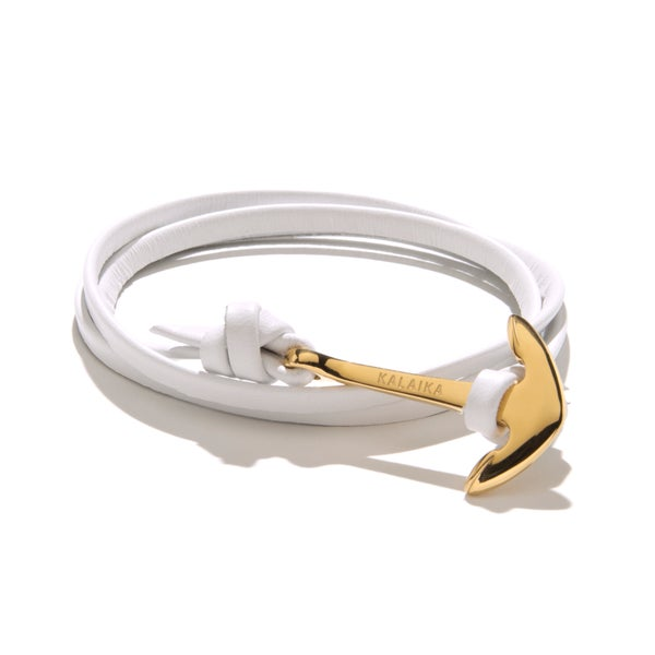 Image of ANCHOR LEATHER GOLD-PLATED<br>WRAP BRACELET