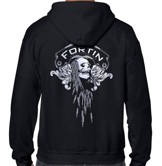 Image of Fortin Skully Long Sleeve Zip-Up Hoodie - Black