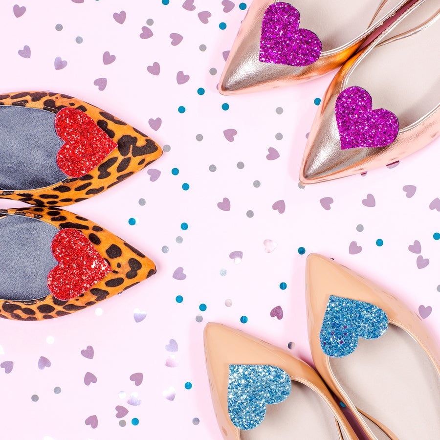 Image of Glitter Heart Shoe Clips