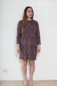 Image of Purple Tone Geometric Pattern Knit Shift Dress- size 10/12