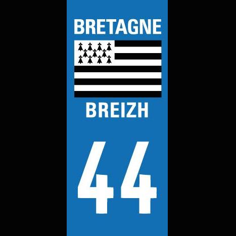 Image of Autocollants 44/BRETAGNE pour plaques d'immatriculation