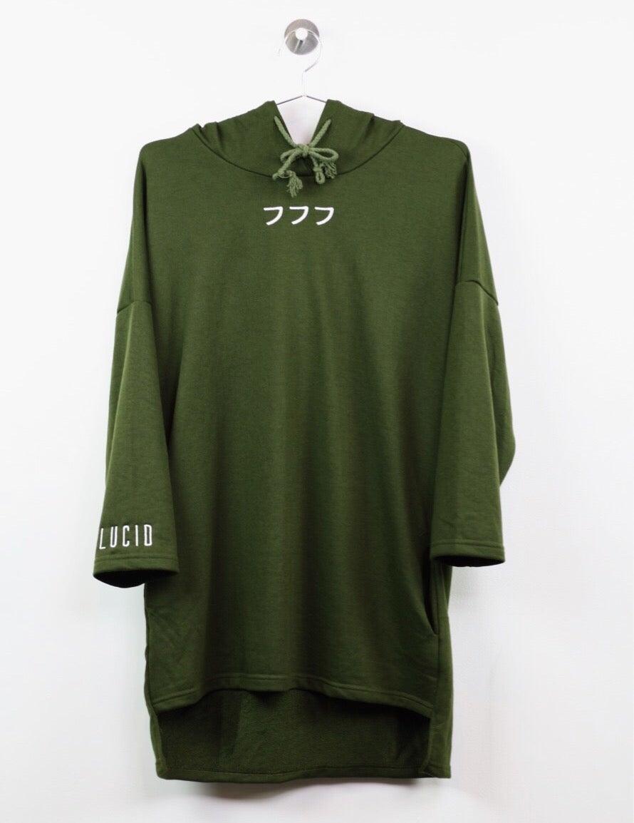 Image of 012 - 3/4 Sleeve Extended Hoodie (olive)