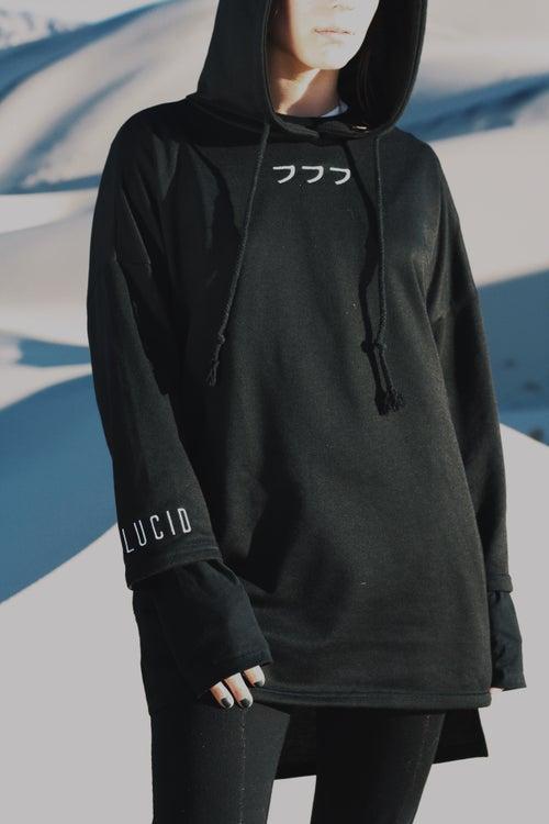 Image of 011 - 3/4 sleeve extended hoodie (black)