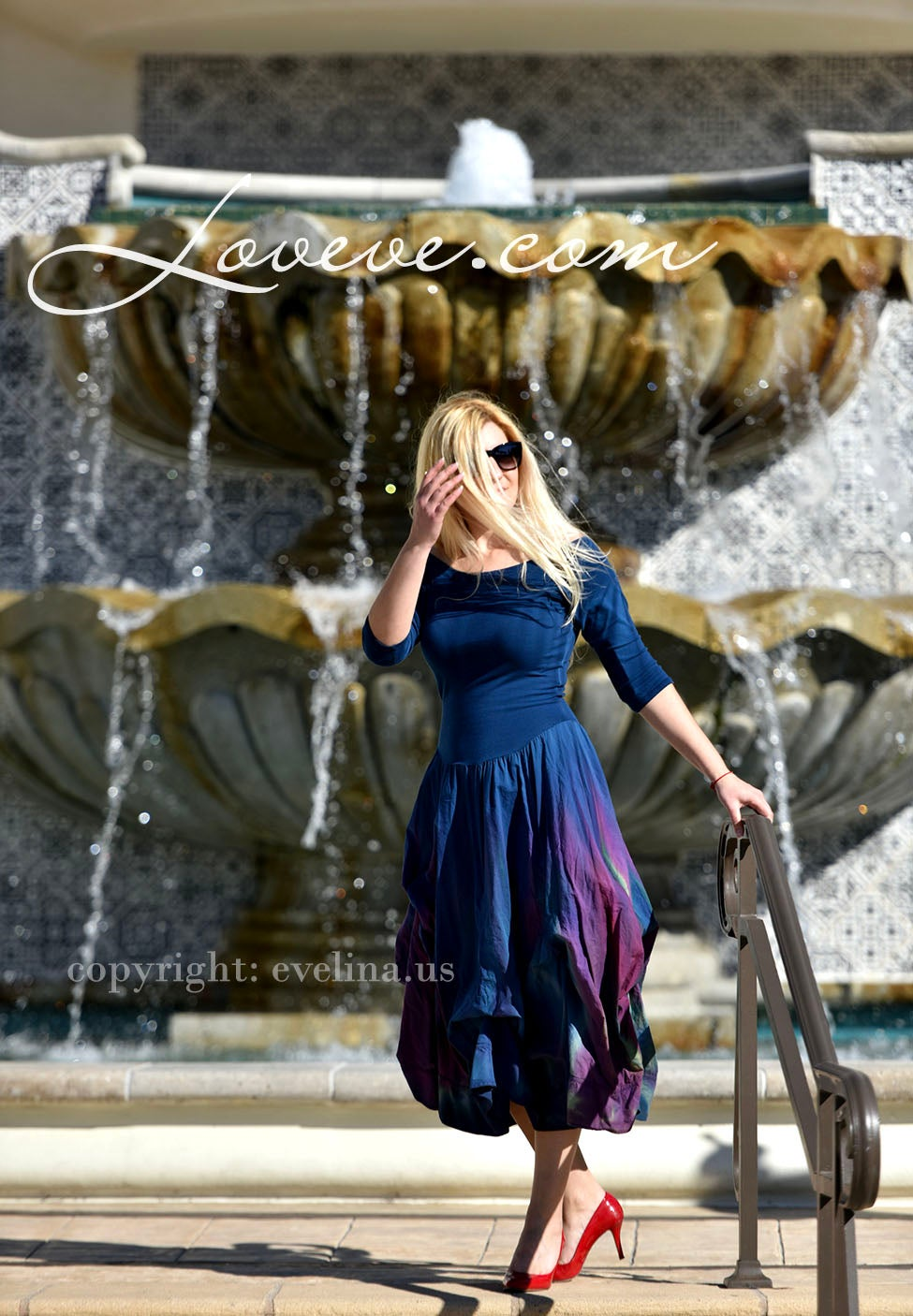 Image of Luna Luz Off The Shoulder Boutique Dress Blue