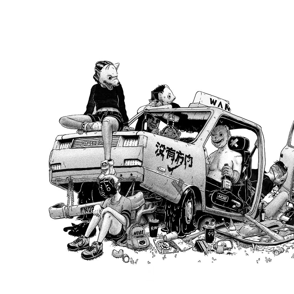 Image of Lost Youth Art Print Black and White