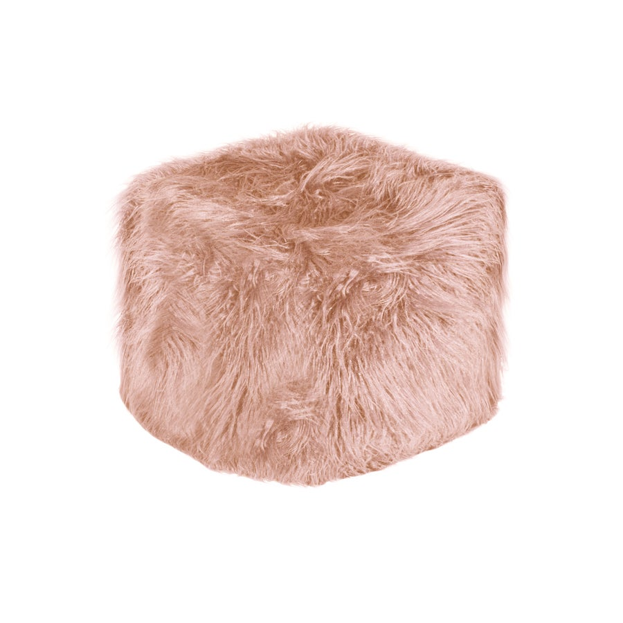 Image of 676685041654   EL PASO MONGOLIAN SHEEPSKIN FAUX FUR POUF 16 X 17 - DUSTY ROSE