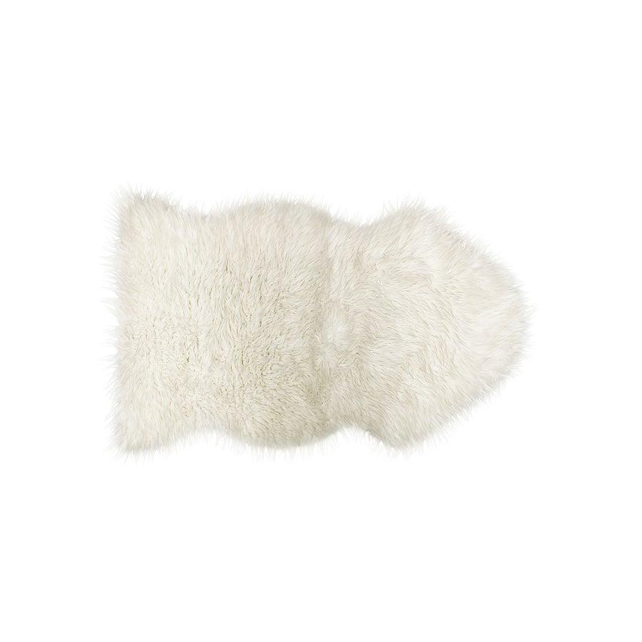 Image of 676685029706 ROYALE GORDON FAUX SHEEPSKIN THROW 2'X3' OFF WHITE