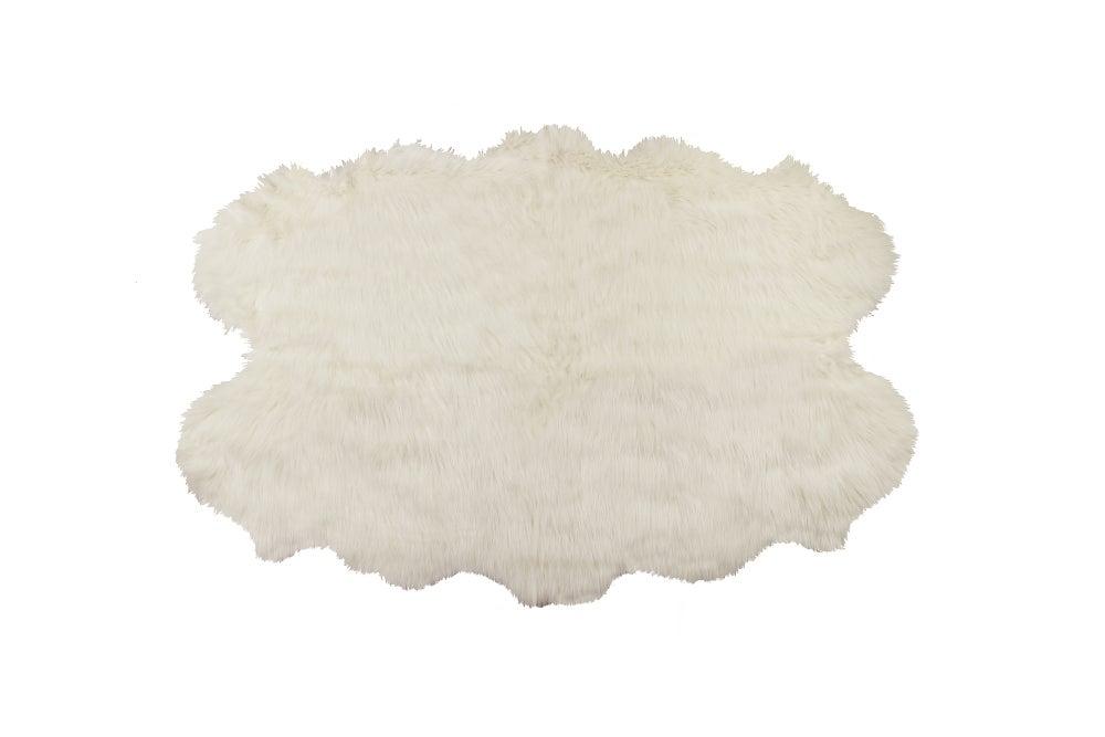 Image of 676685040985 GORDON FAUX SHEEPSKIN RUG QUATTRO 4' X 6' OFF WHITE