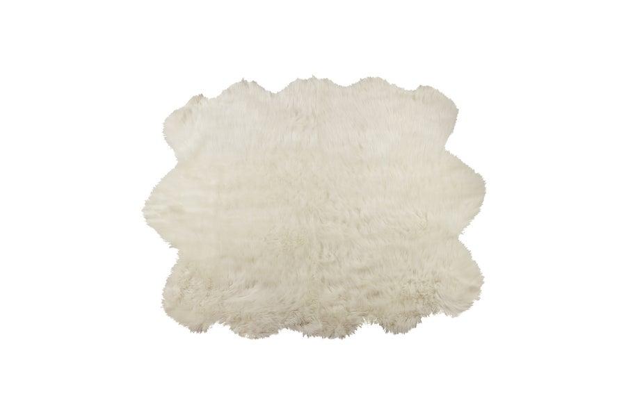 Image of 676685040992 GORDON FAUX SHEEPSKIN RUG SEXTO 5' X 6' OFF WHITE