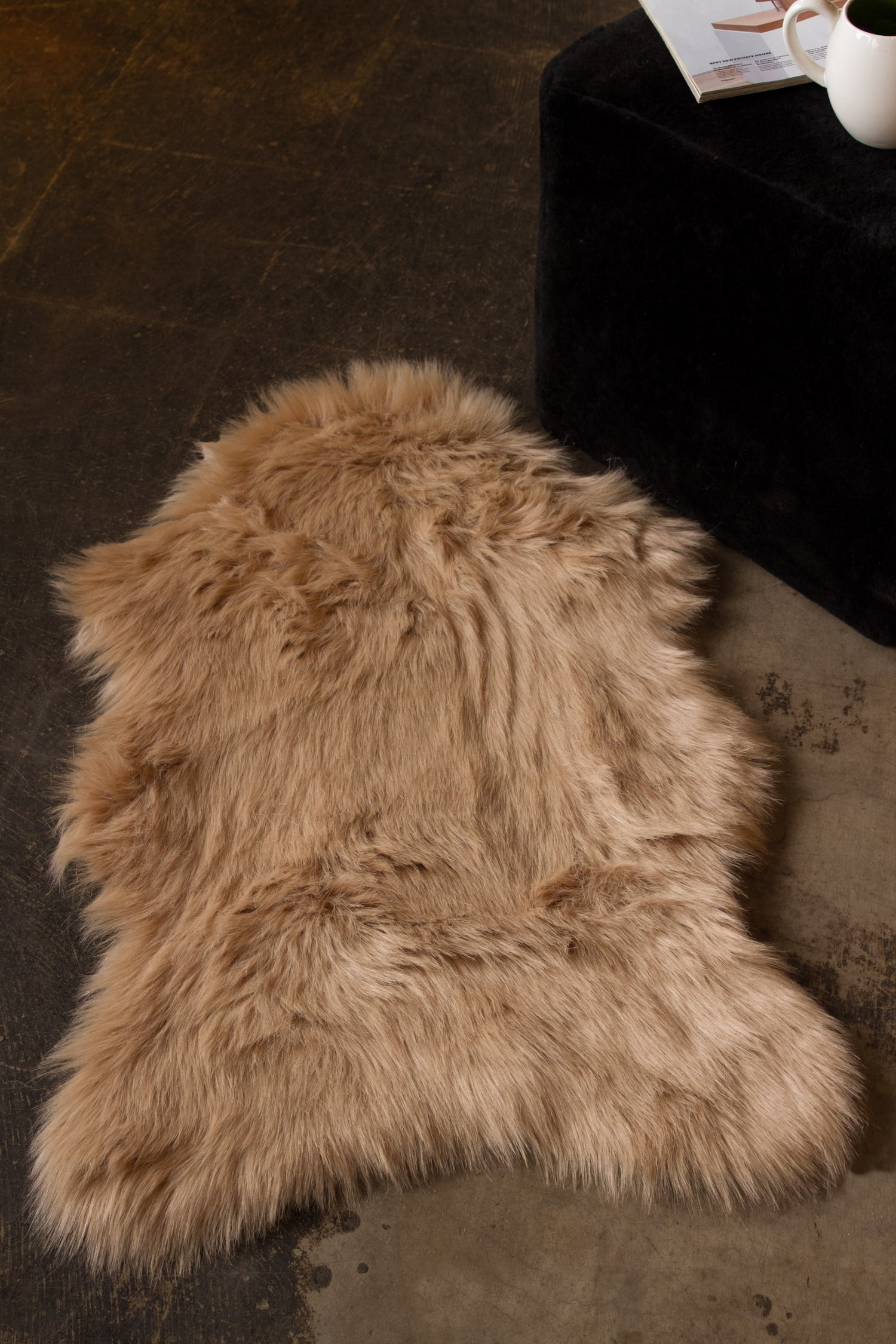 Image of 676685029713 GORDON FAUX SHEEPSKIN THROW 2'X3' TAN