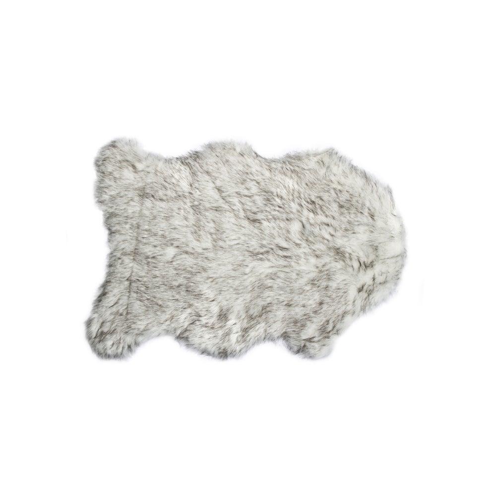 Image of 676685029720 GORDON FAUX SHEEPSKIN THROW 2'X3' GRADIENT GRAY
