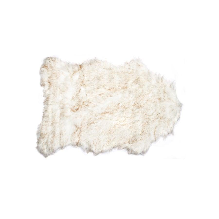 Image of 676685029737 GORDON FAUX SHEEPSKIN THROW 2'X3' GRADIENT TAN