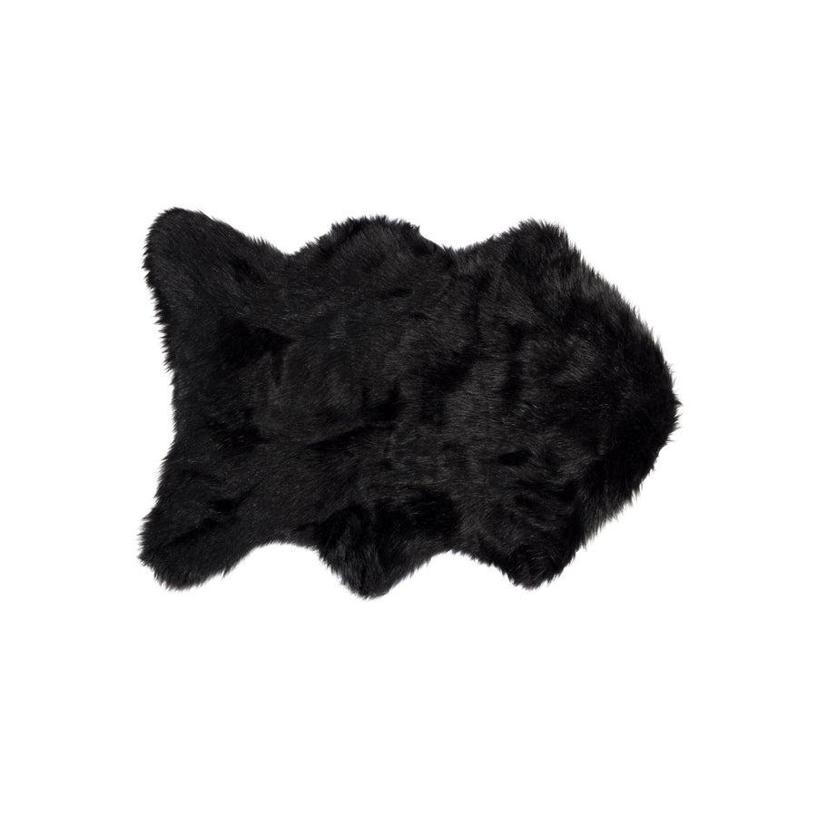 Image of 676685029744 GORDON FAUX SHEEPSKIN THROW 2'X3' BLACK
