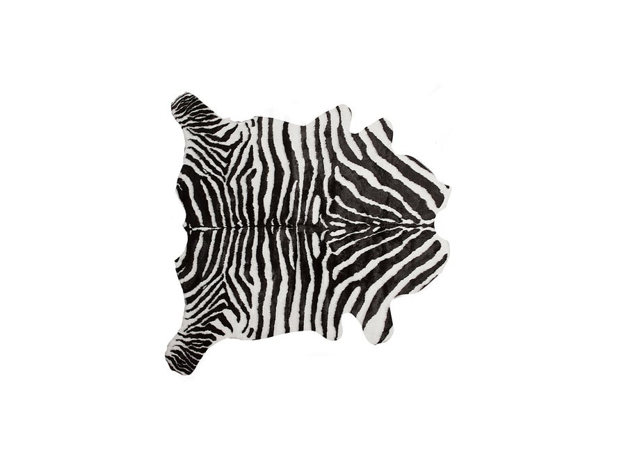 Image of 676685029904 FAUX HIDE RUG -THROW 6'X7' ZEBRA BLACK WHITE