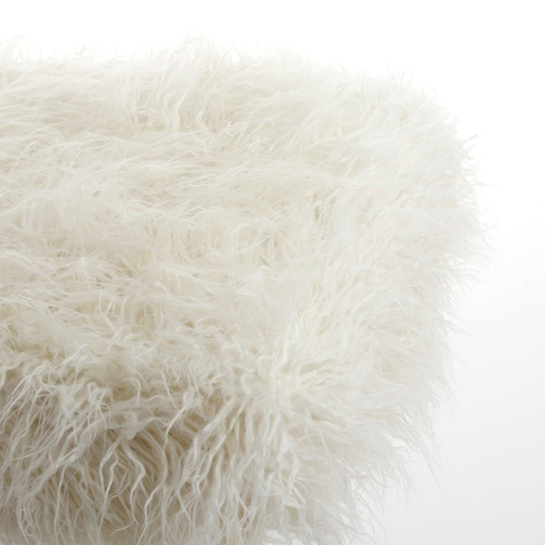Image of 676685041531 FRISCO MONGOLIAN SHEEPSKIN FAUX PILLOW TONE WHITE