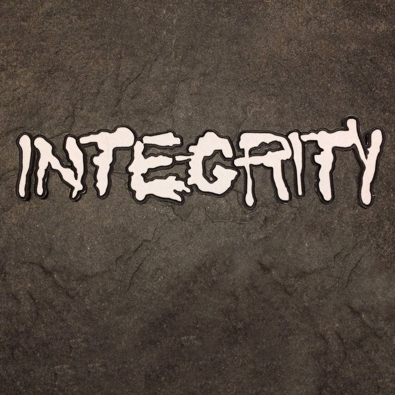 "Image of 12"" INTEGRITY splatter logo embroidered iron-on patch"