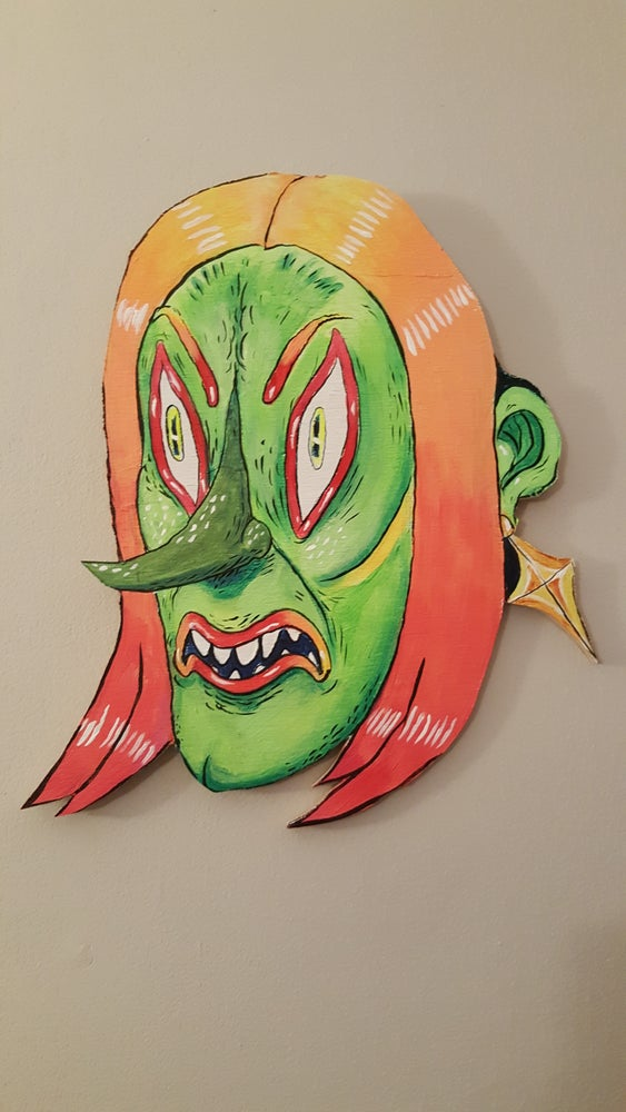 "Image of Ghoul Portrait on wood ""A Hard Part and a Day-GLO Smile"""