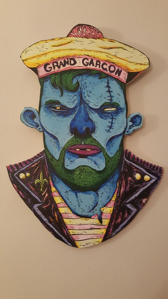 "Image of ""Grand Garcon"" ghoul portrait on wood"