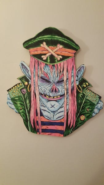 "Image of ""Grungy Ghoul"" portrait on wood"