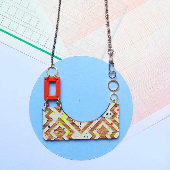 Image of Izzie rectangle drop necklace