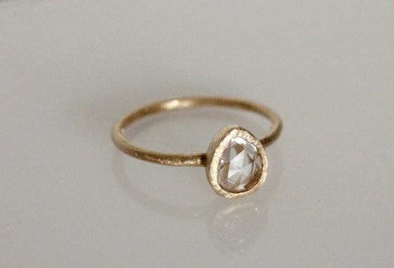 Image of Icy pink pear sapphire engagement ring. 18k. Billy