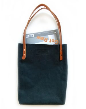 Image of Blue Black Leather Tote Bag - Chrome Free Vegtan Shopper