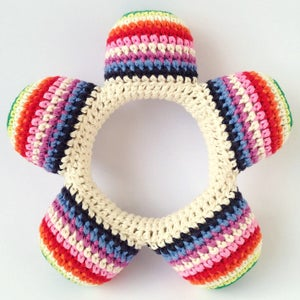 Image of Anne Claire Petit Flower Baby Rattle