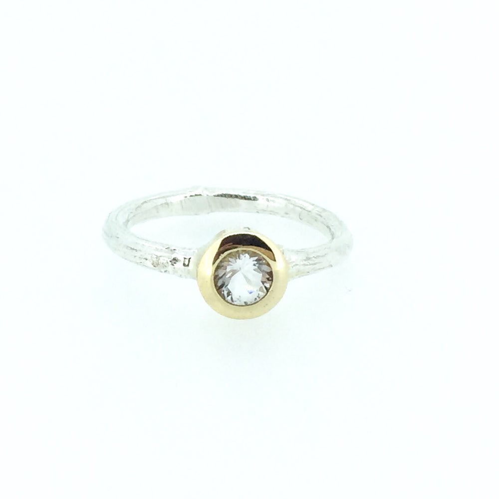Image of herkimer diamond quartz engagement ring