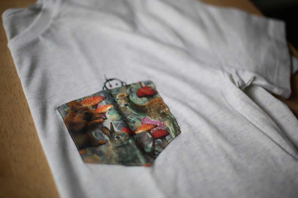 Image of Monkey Climber Secret Squirrel pocket tee I Black - Cream Heather Grey