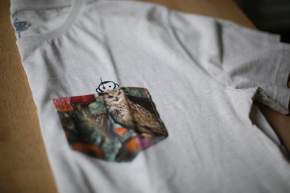 Image of Monkey Climber Night Owl pocket tee I Black - Cream Heather Grey