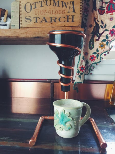Image of Copper coffee drip stand with vintage emerald green top