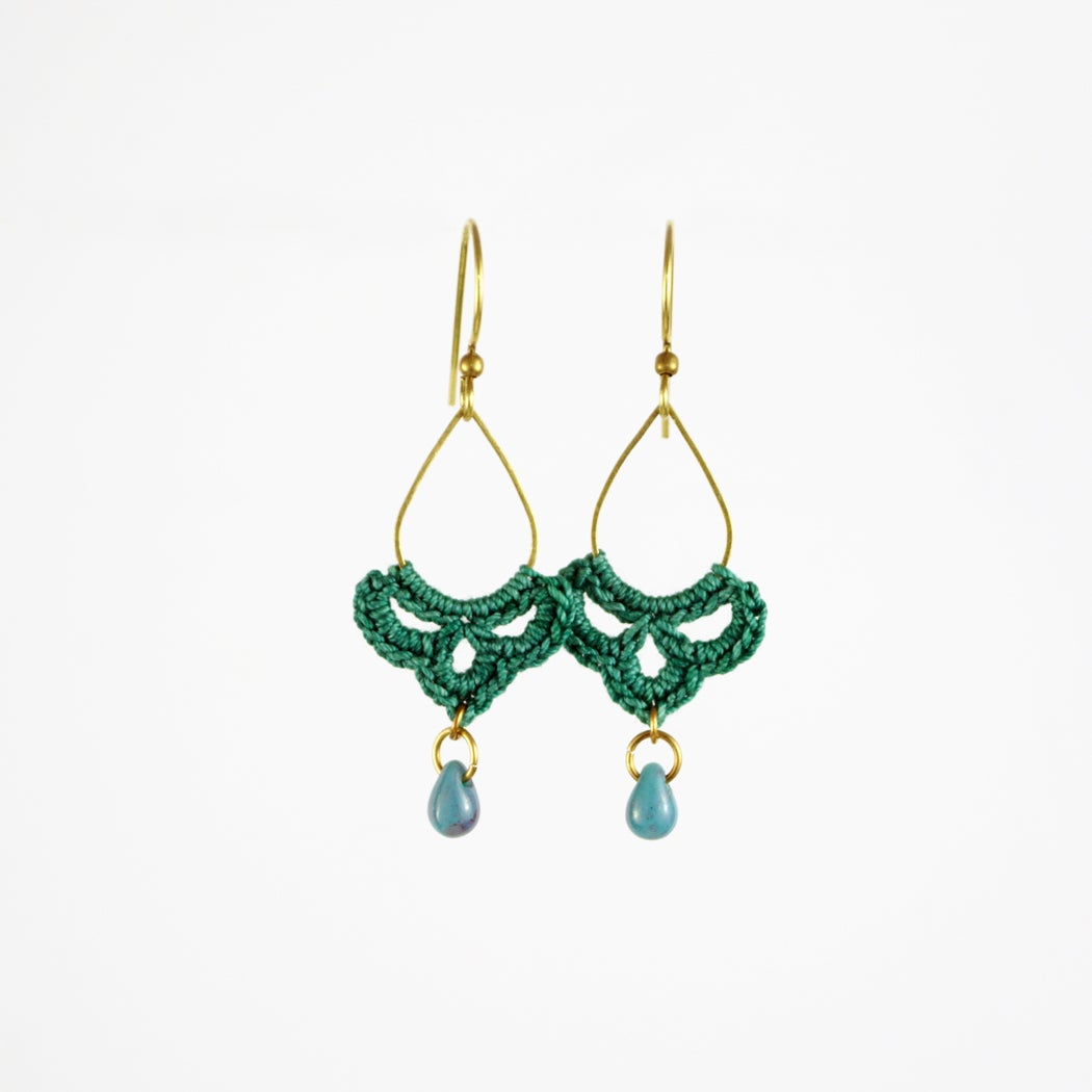 Image of Tiny Teardrop Swag Hoops (Teal Blue)