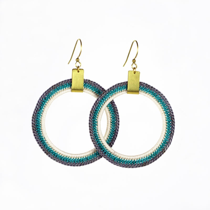 Image of Triple Stripe Radial Hoops (Gray, Light Teal, Ivory)