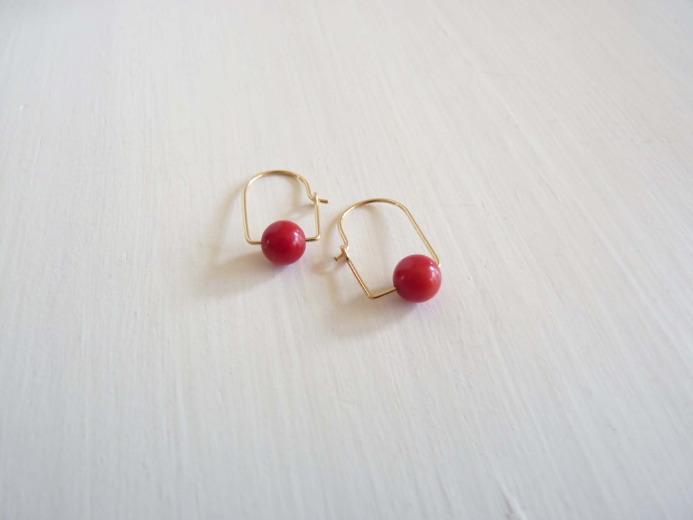 Image of Epi coral earrings
