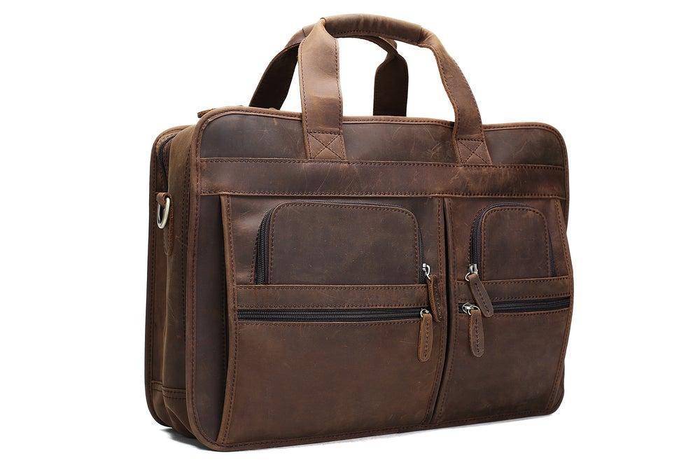 Image of Handmade Genuine Leather Luggage Bag Travel Bag Laptop Briefcase DZ11
