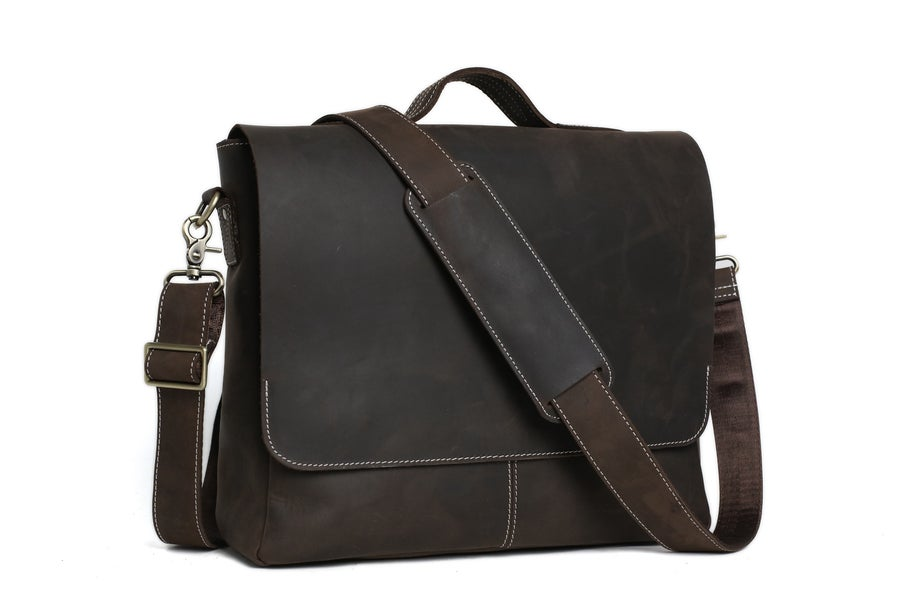 Image of 14'' Leather Briefcase Messenger Bag Laptop Bag Men's Bag 7108
