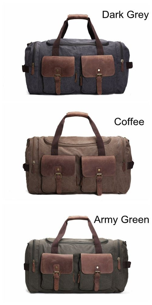 Image of Handmade Waxed Canvas Duffle Bag Travel Bag Holdall Luggage Bag Overnight Bag AF14