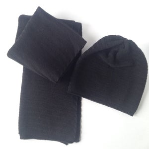 Image of Fishbone Pattern Scarf // Black