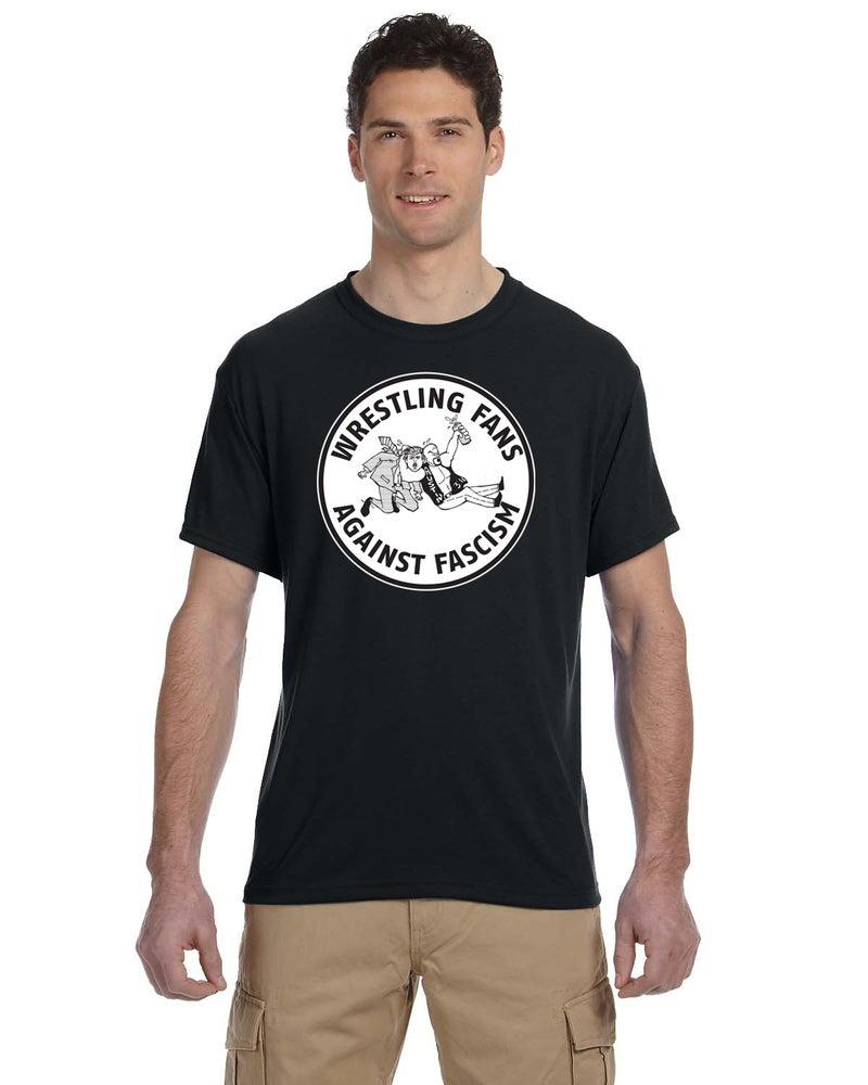 Image of Wrestling Fans Against Fascism Circle T-Shirt