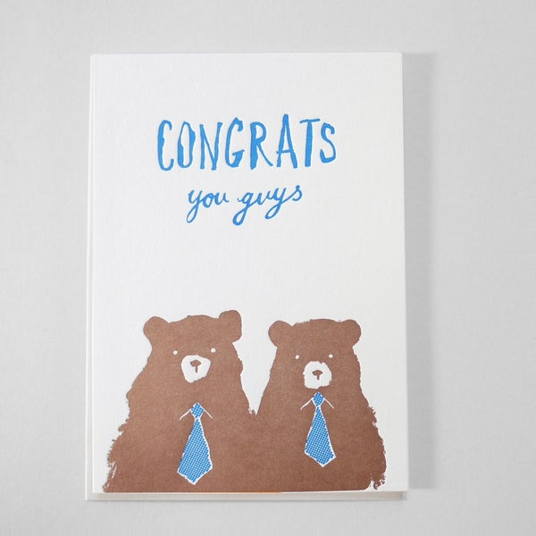Image of GAY WEDDING CARD - CONGRATS YOU GUYS / GAY BEARS