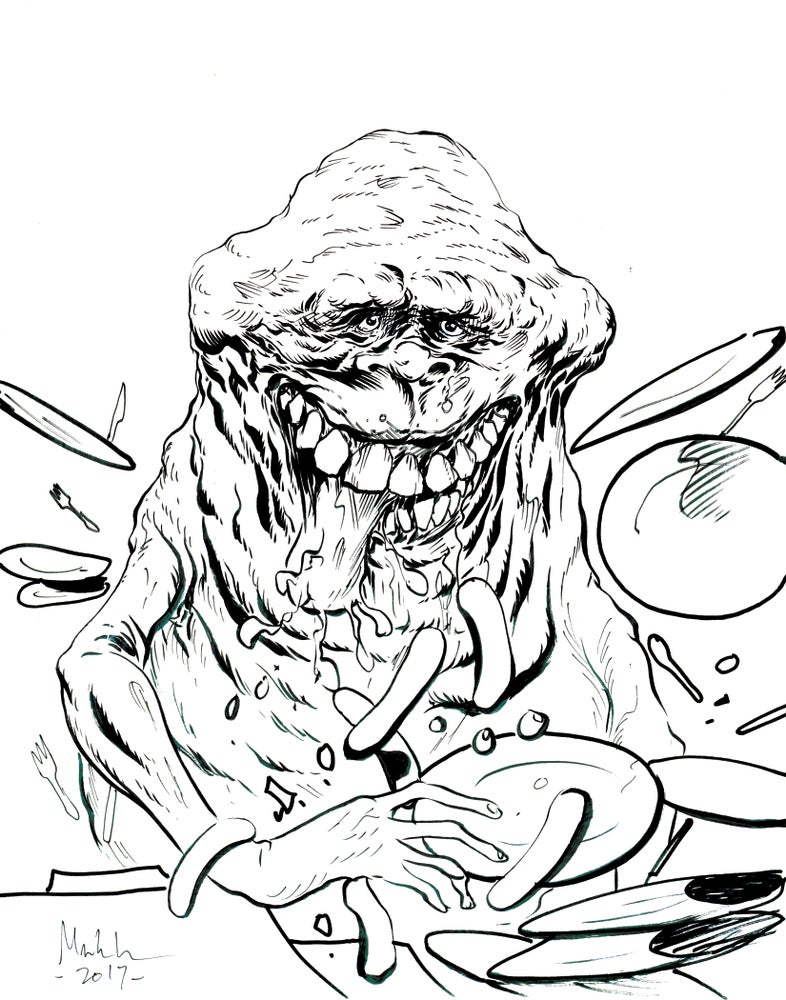 Image of Slimer 11x14 inked drawing original art