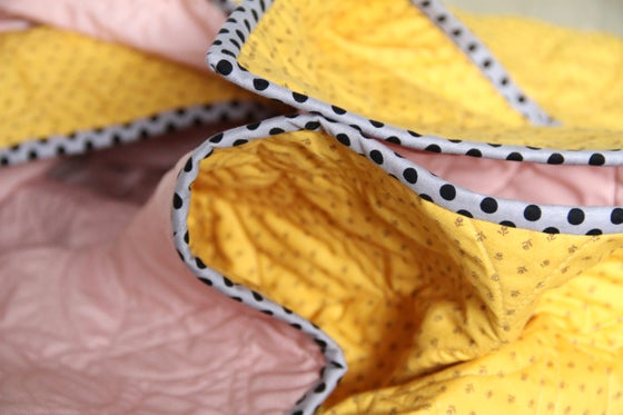 Image of Mustard and Pink Broadbill Quilt