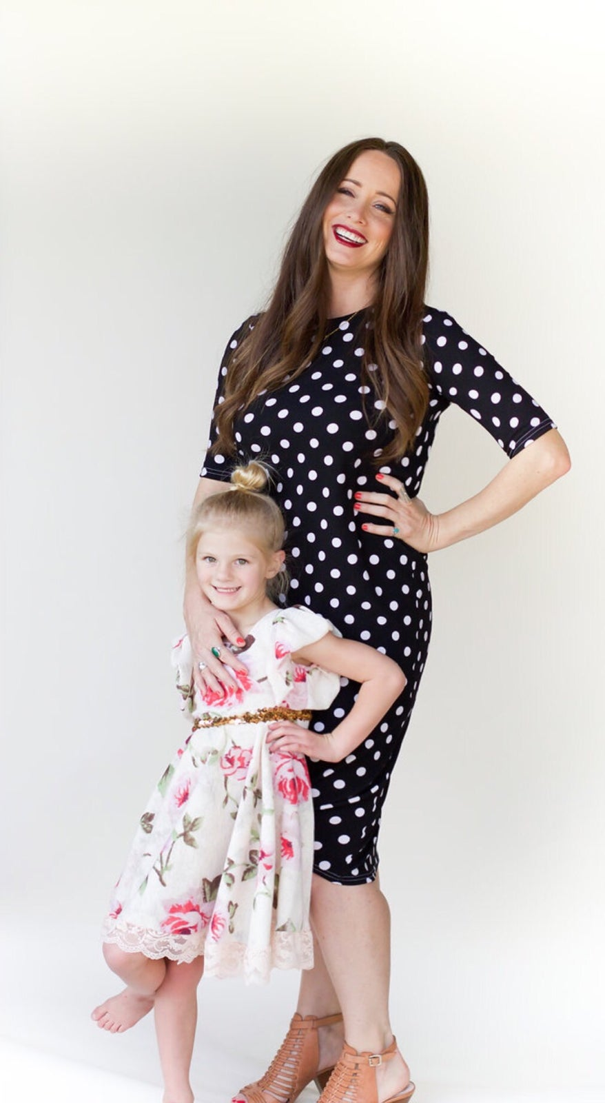 Image of Womens Black with white Polka Dots Knot Knit Dress