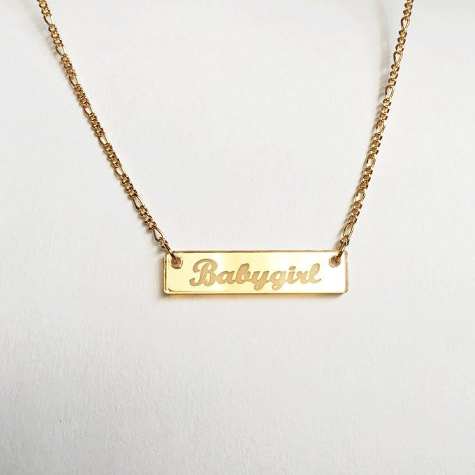 Image of BABYGIRL Gold Bar Acrylic Necklace
