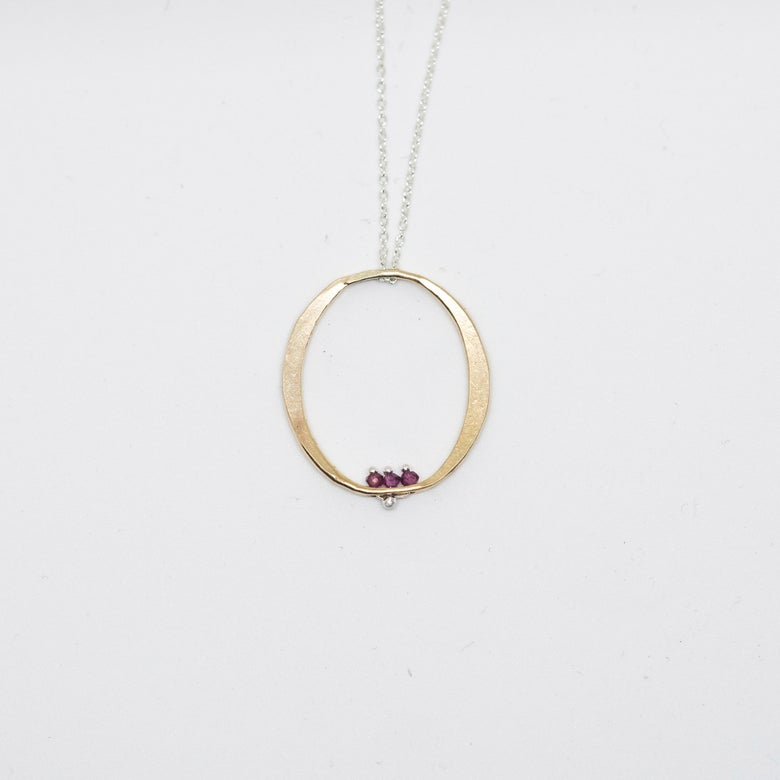 Image of Long ruby oval necklace