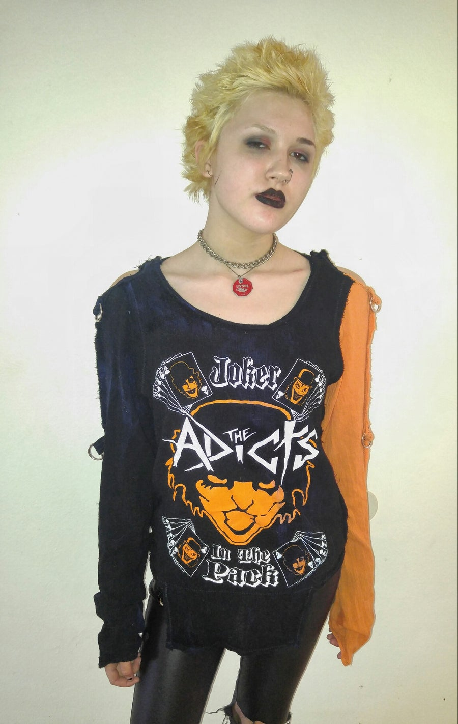Image of The Adicts black gauze bondage shirt with 1 orange sleeve