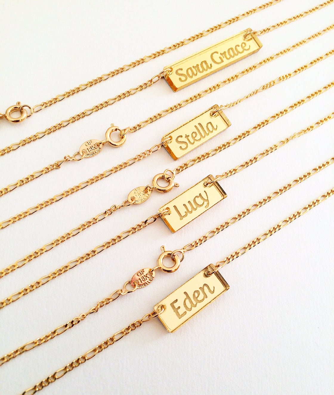 Image of Custom CURSIVE GOLD BAR Acrylic Necklace