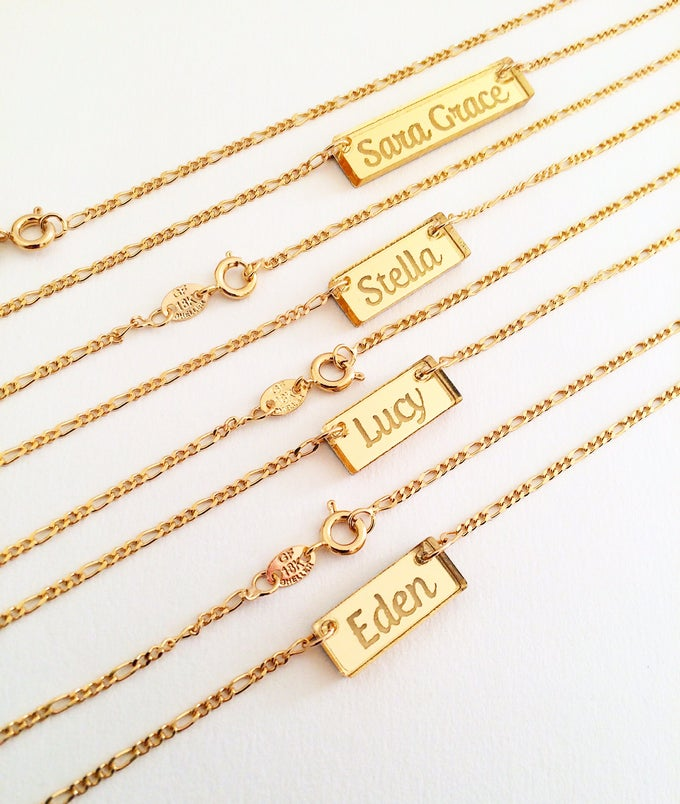 Image of Custom CURSIVE GOLD BAR Acrylic Necklace