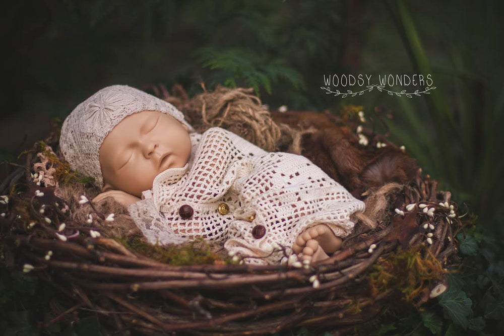 "Image of Hand Harvest GrapeVine ""Baby"" Nest with Organic, Mossy Embellishments"